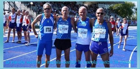 Livio Bugiardini primo a sinistra nella staffetta 4x300
