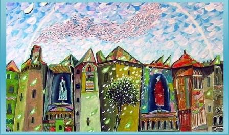 r)- La città ideale con atelier nobiliare -70x50-0li0 su tela-di Carlo Iacomucci partic