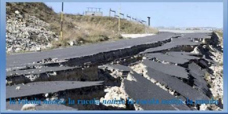strada dissestata sisma